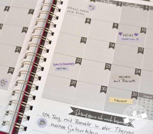 Sticker für den Kalender in 3 Farben