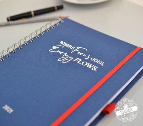 Termin Kalender hochwertig Buch mit Leinen und Silberprägung