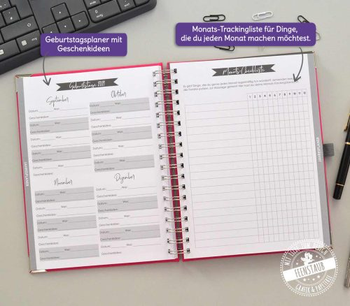 Terminkalender mit Geburtstagsübersicht und Monatstrackingliste
