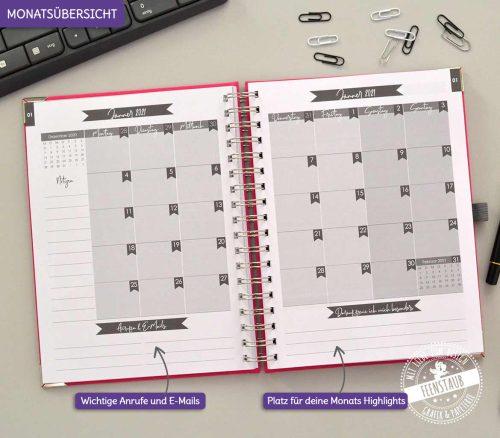 Fokus Planer, Wochenkalender 2021 Monatsansicht auf einer Doppelseite