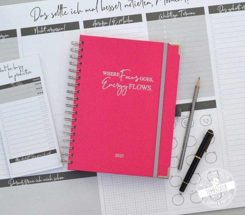 Fokus Planer mit Wochenkalender und Workbook für Zielsetzung