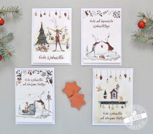 Weihnachtskarten im 4er Set mit süßen Hasenmotiven