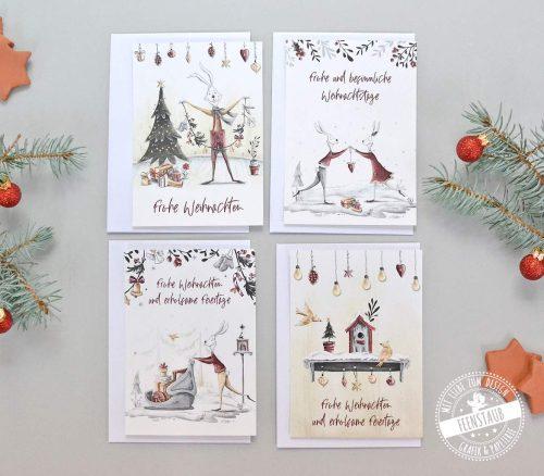 Weihnachtskarten zum Versenden guter Wünsche an Weihnachten mit süßen Weihnachtsmotiven