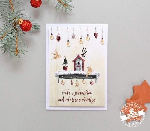 Weihnachtskarte mit Vogelhäuschen