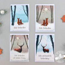 4 Weihnachtskarten mit winterlichen Motiven, Hirsch und Füchse