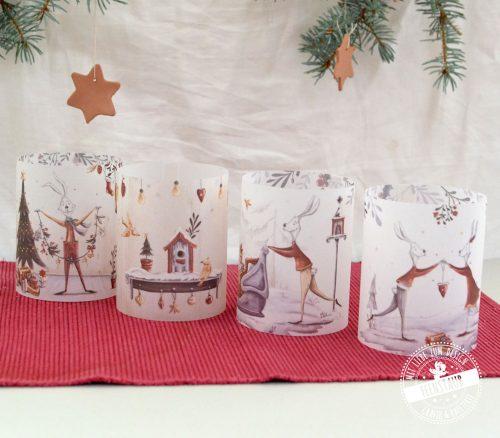 Teelichthülle als 4er Set für Weihnachtsdeko