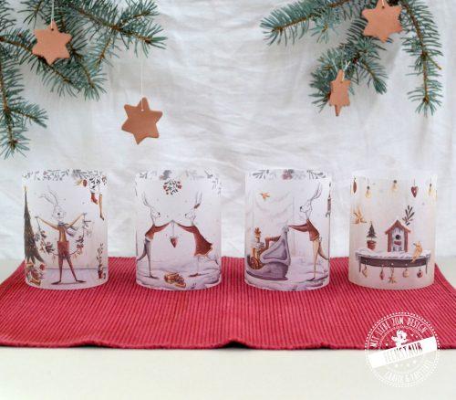 Weihnachtskerzenhüllen stimmungsvolle Adventdeko für Teelichter und Kerzen