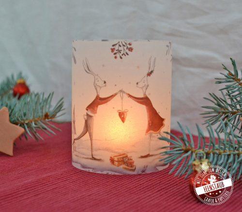 Windlicht Hülle für Weihnachten mit süßen Hasen