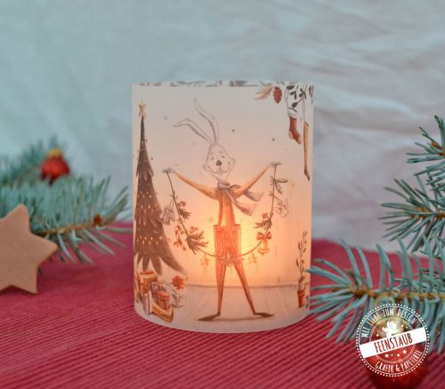 Weihnachtsdeko Teelichthülle mit weihnachtlichen Motiven