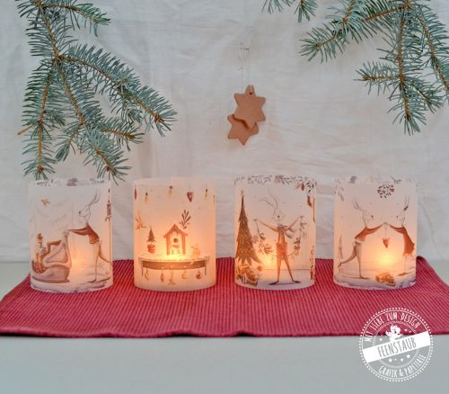 Teelicht Hülle, Kerzenbanderolen im 4er Set als Tischdeko für Weihnachten und die Adventzeit