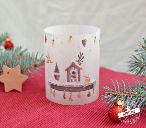 Lichthülle mit weihnachtlichen Motiven als Tischdeko