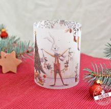 Adventkalenderfüllung Weihnachtskerzen Banderole mit süßen Hasen und weihnachtlichen Motiven