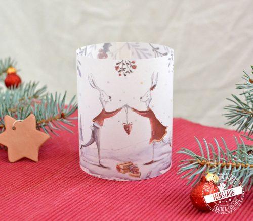süßes Hasenpaar auf Teelichthülle für Weihnachten, perfekt als Tischdeko