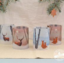 Winterdeko für Teelichter, Lichthüllen mit winterlichen Motiven