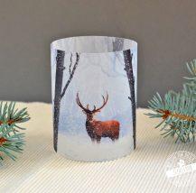 Lichthülle, Kerzenhülle für Winterdeko, Winterwald mit Hirsch