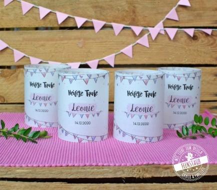 windlichthülle aus Papier für die Taufe in rosa