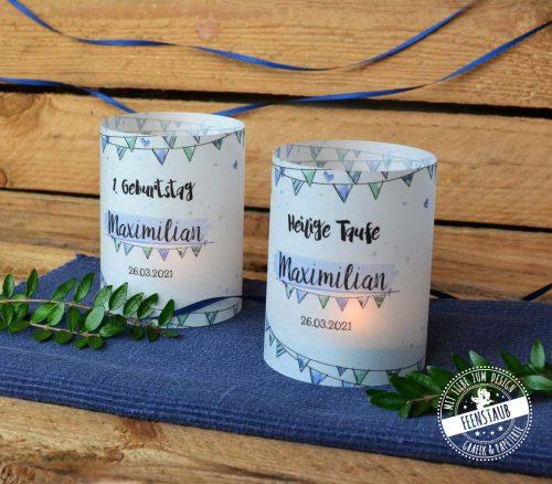 Tischdeko für Taufe, Kerzen mit Namen und Datum