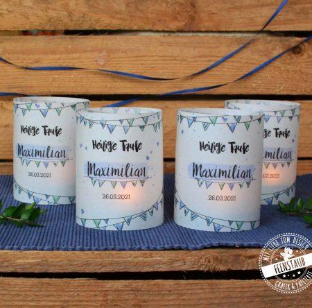 Taufdeko Kerzenhüllen in blau, personalisierbar