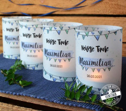 Windlichbanderole, Kerzenhülle mit Namen für Taufe oder Geburtstag