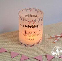 Windlichthülle aus Papier zur Taufe und Geburtstag