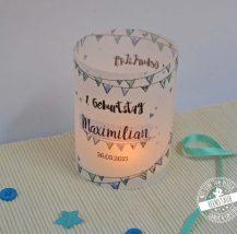 Teelichthülle für Taufe in blau mit Namen und Datum personalisierbar