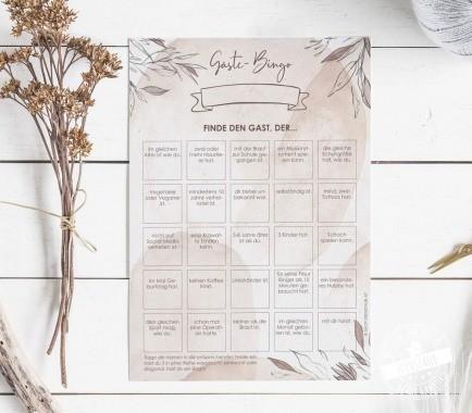 Gäste Bingo für die Hochzeit