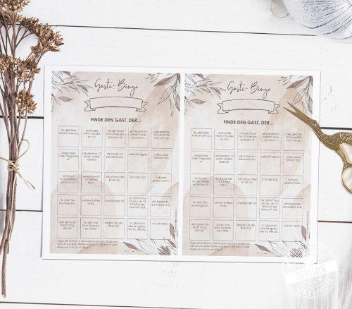 Hochzeitsgäste Bingo als Download zum Kennenlernen