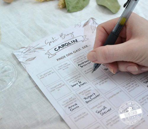 Gästebingo Spiel für die Hochzeit für Gästebeschäftigung