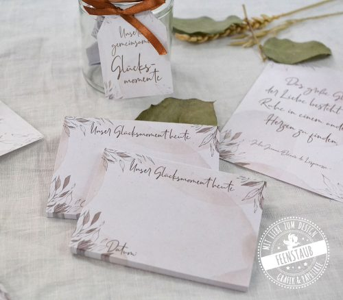Hochzeitsvorfreude-Set mit Hochzeitscountdown, Glücksglas und Washi Tape