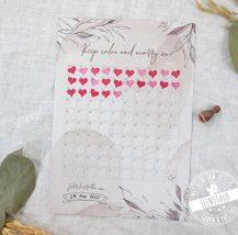 100 TAge Countdown bis zur Hochzeit mit Herzstempel