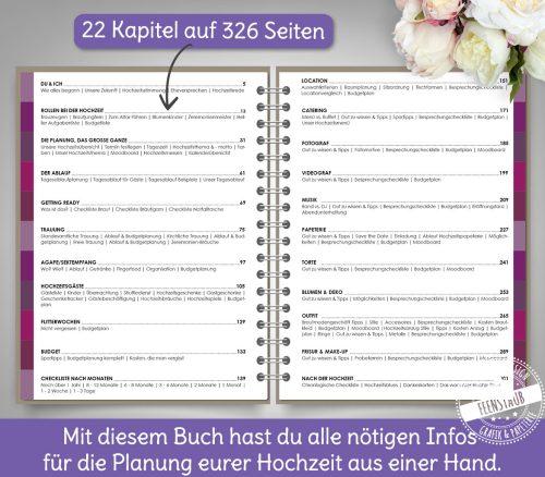 Feenstaub Hochzeitsplaner mit 326 Seiten, 22 Kapiteln, vielen Checklisten, Tipps, Budgetlisten und einer Online Bibliothek