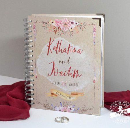 Vintage Bohho Weddingplaner Buch mit Blumen und Federn
