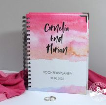 Hochzeitsplaner mit Wasserfarben in Pink und rosa