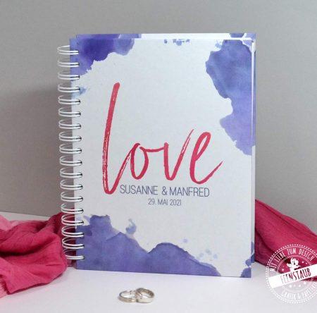 Hochzeitsplaner WAsserfarbenoptik in Blau und Pink