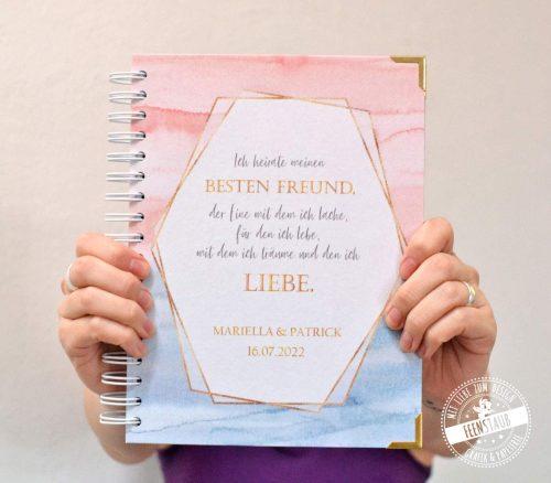Romantischer Hochzeitsplaner in rosa und blau, hochwertiger Hochzeitsplaner mit Gold