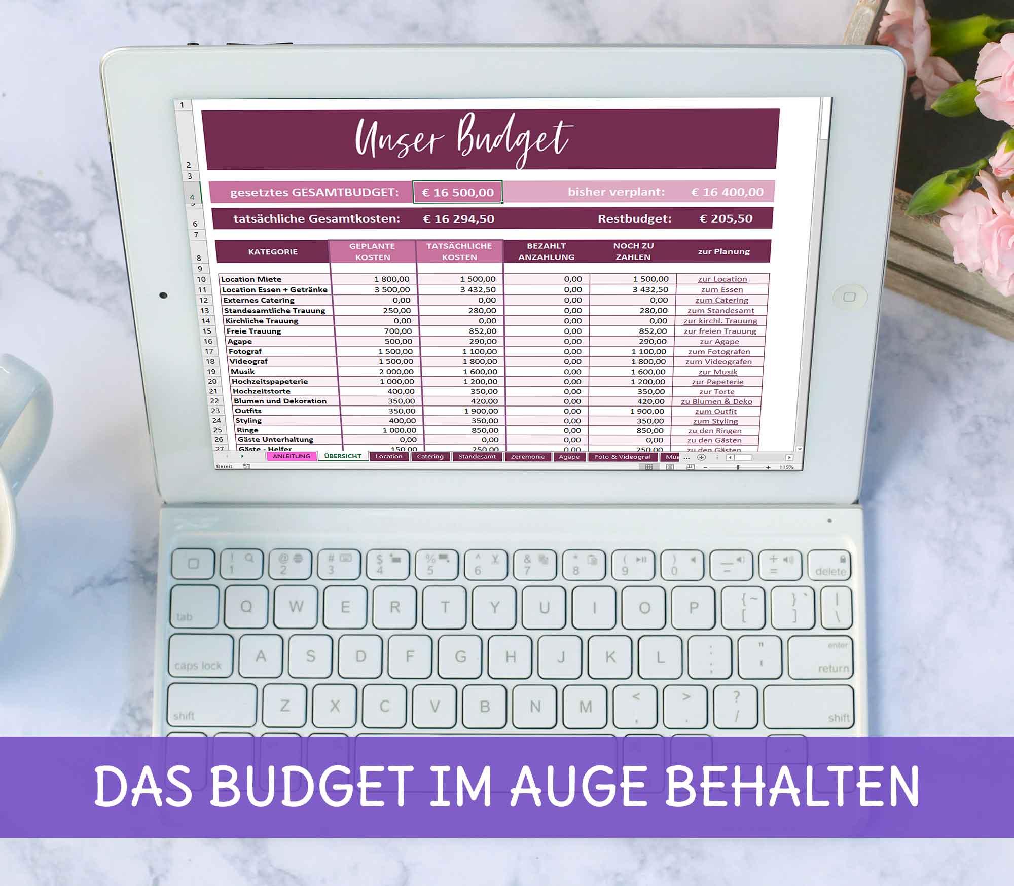 Hochzeitsplanung: Was kostet eine Hochzeit - Budgetplaner in Excel zum Downloaden Ablauf