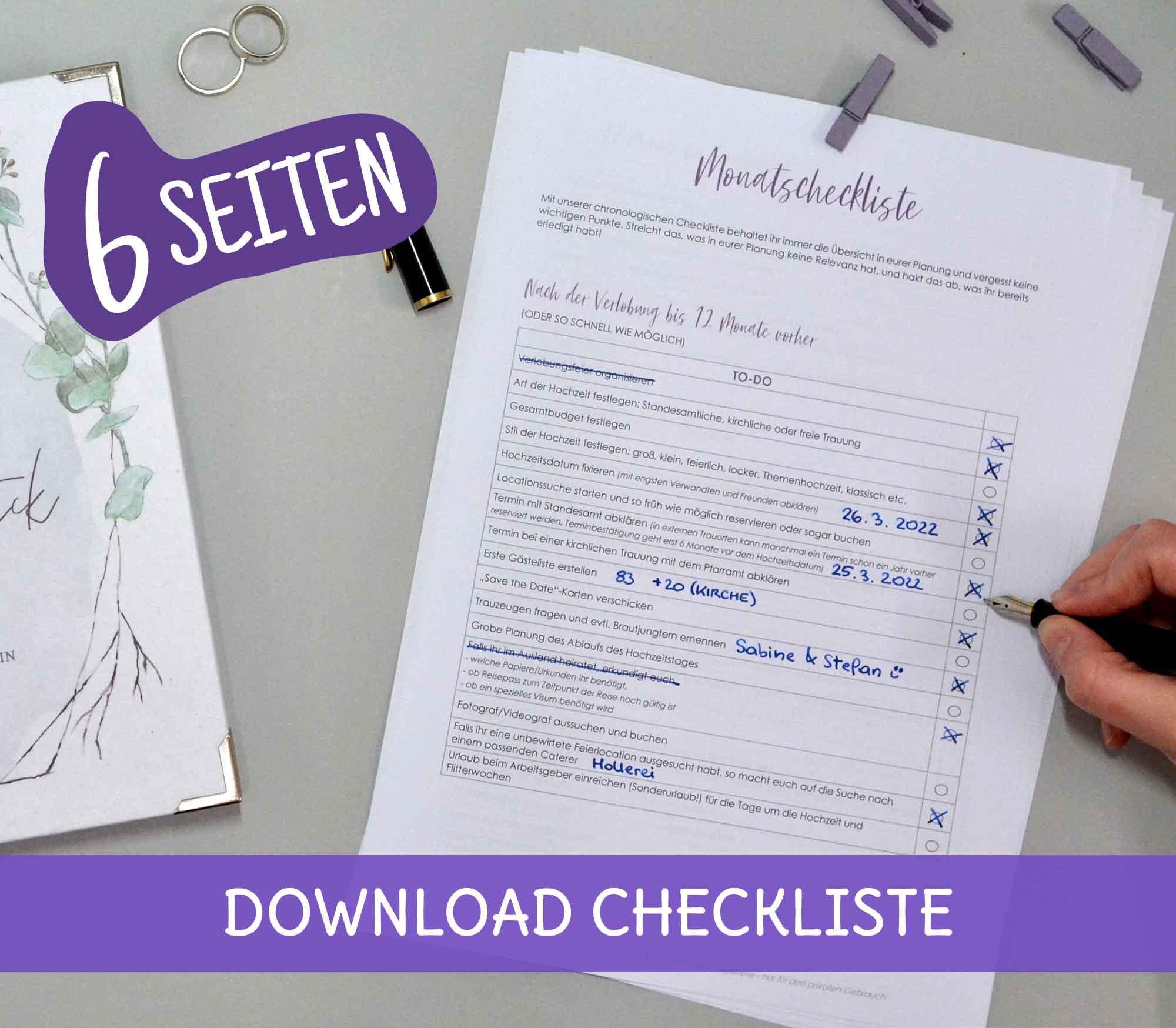 Hochzeotsplaung Checkliste zum Abhaken für die Hochzeit