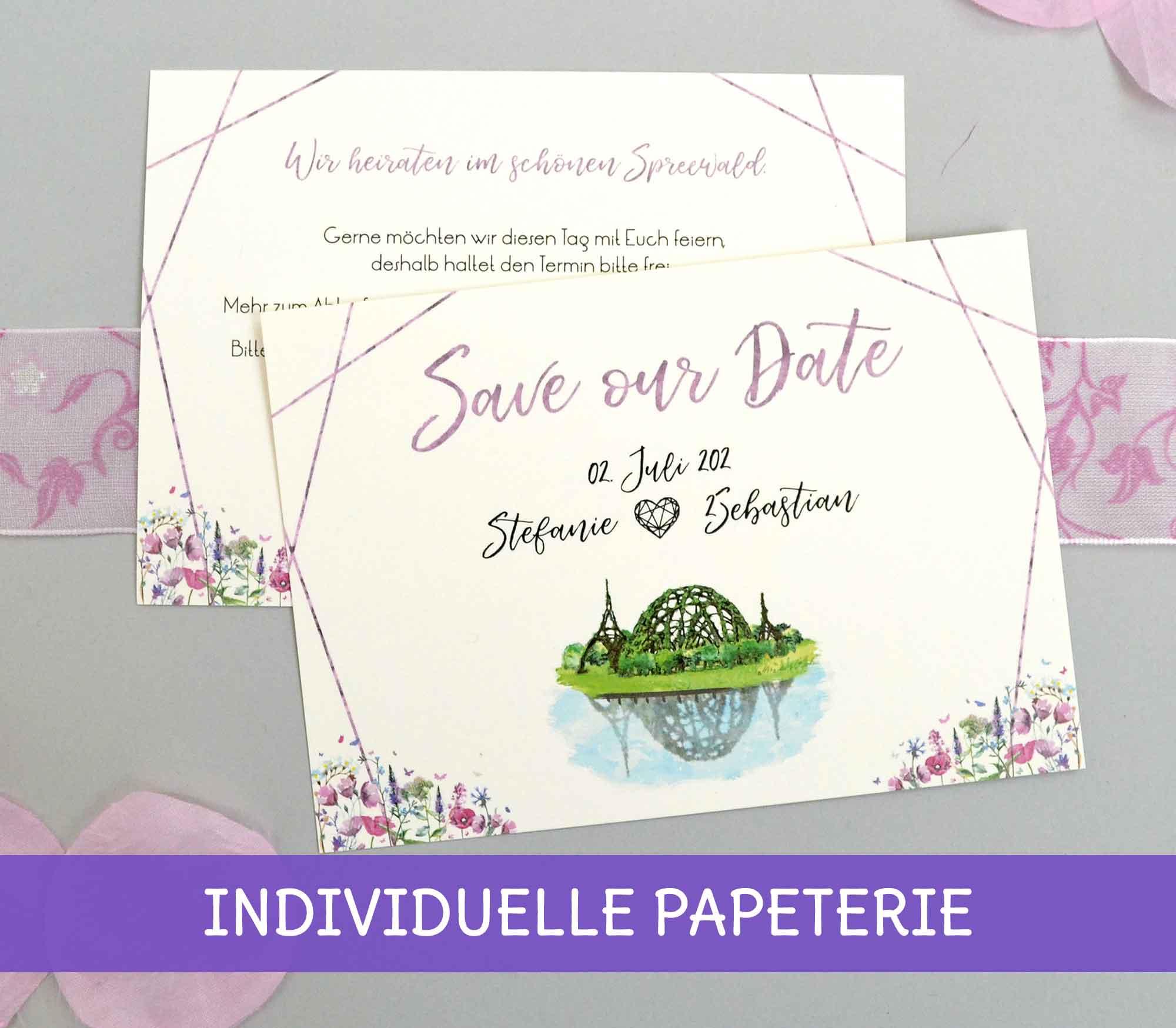 Individuelle Einladungen und Save the Date Karten für die Hochzeit