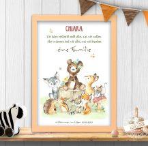 Geschenk zur Geburt oder TAufe, süßes Tierbild mit Familienspruch
