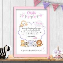 süßes Tierbild für Babyzimmer, da werden Hände sein, die dich tragen