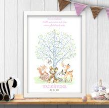 Waldtiere mit Baum und Spruch als Bild fürs Kinderzimmer