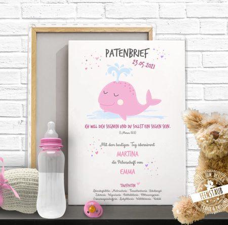 TAufurkunde mit Wal, Geschenk von Patentante and Patenkind, Leinwand oder Papier