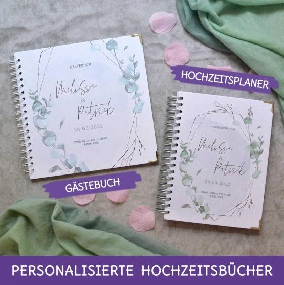 Personalisiertes Gätebuch und Weddingplaner im greenery Eukalyptus design