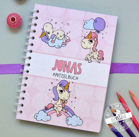 Notizbuch für Kinder mit Einhörnern in rosa, lila, türkis