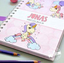 Notizbuch für Mädchen personalisierbar mit Regenbogen Einhorn