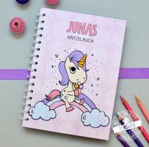 Einhorn mit REgenbogen Notizbuch für Mädchen zum Schulbeginn