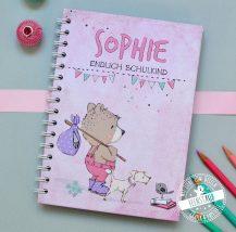 Notizbuch Schulstart Endlich Schulkind mit süßem Bären und Hund
