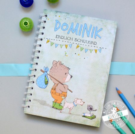 Notizbuch mit süßem Bären, Geschenk zum Schulbeginn für Schulkind