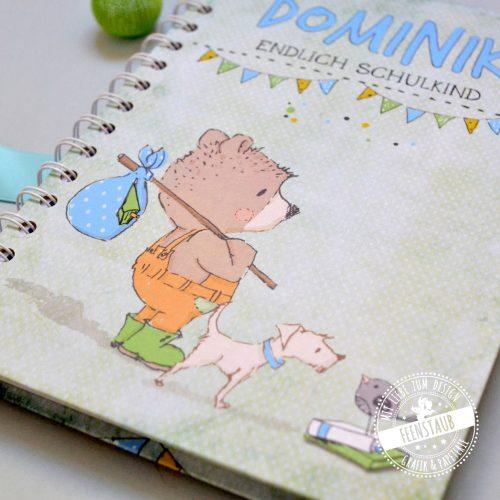 Schulkind Notizbuch mit Namen bedruckt süßer Bär in grün