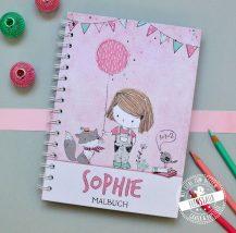 Notizbuch für Mädchen zum Schulstart in rosa mit Namen und Wunschtext